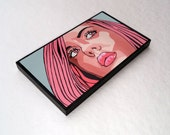 Mounted Portrait Print Pink Retro POP Art Girls Face Comic Style PopArt Potrait Expressionism Mixed Media Print
