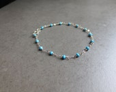 Turquoise Sterling Silver Handmade Wire Wrapped Bracelet