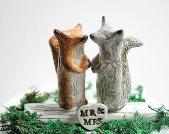 Clay Squirrels Cake Topper - Clay Squirrels - Woodland Cake Topper - Wedding cake topper Squirrels - Rustic Wedding Cake Topper