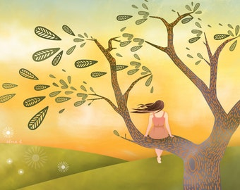 Whimsical Sunset Childrens Wall Art - A3 / 11x14 Fine Art Print - 'At The End of The Day'