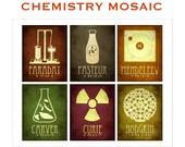 Chemistry Art Mosaic 8x10, Chemist Gift, Science Teacher, Steampunk Science Poster, Marie Curie, Mendeleev, George Washington Carver