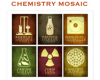 Chemistry Art Mosaic 11x14, Chemist Gift, Science Teacher, Steampunk Science Poster, Marie Curie, Mendeleev, George Washington Carver