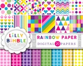 50% off sale RAINBOW digital paper with chevron, confetti, hearts, polka dots, scrapbook, Instant Download, Lilly Bimble