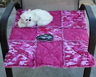 Pink Cat Bed, Small Dog Bed, Designer Pet Bed, Colorado Catnip Bed, Fabric Cat Bed, Crate Mat, Travel Pet Mat, Pink Camo Pet Bed, Cat Mat