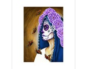 Pretty Purple Day of the Dead Catrina and Butterflies Inspired Art Print
