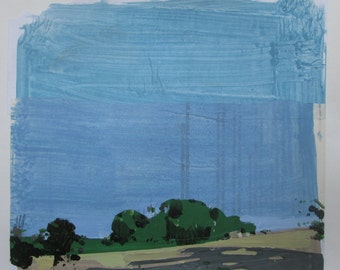 Stand Alone, Original Summer Landscape Collage Painting on Paper, Stooshinoff