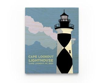 Cape Lookout Lighthouse Art Block, North Carolina Lighthouse Art