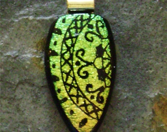 Dichroic Glass Pendant in Inverted Teardrop Shape