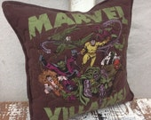 30% OFF SUPER SALE- Marvel Throw Pillow-Marvel Villians-Comic Book- Throw Pillow--Upcycled Eco Friendly-Quilted