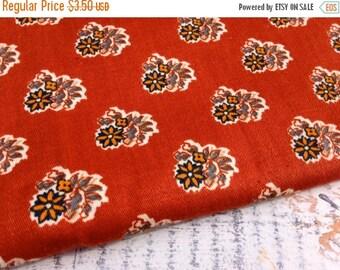 40% FLASH SALE- Vintage Floral Fabric-Rust-Home Dec Fabric