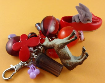 Red and Mauve Kitsch Bag Charm - Bunny rabbit in a shoe, toy plastic goat, big beads, kitsch cute funky, handbag decoration, purse charm fun