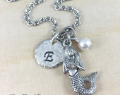 Personalized Mermaid Charm Necklace, Hand Stamped Initial and Birthstone Jewelry, Silver Mermaid Necklace, Personalized Gift