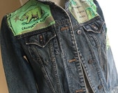 California to the North- Denim jacket with bintage graphic appliqué