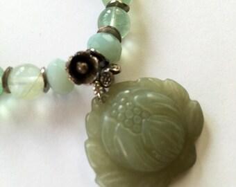 Lorimarsha Bracelet-Carved Jade Lotus and Amazonite