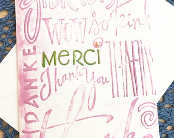 "Pink Multi - Lingual Thank You Note Card, Merci, Danke, Thanks, Gracias, Appreciation, Gratitude, Friend, Kindness, Caring, Host - 4"" x 5.5"""