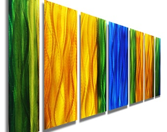 Colorful Abstract Metal Wall Art - Modern Metal Painting - Wall Accent - Home Decor - Painted Panel Art - Wavelength by Jon Alen