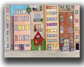 City Life watercolor ACEO