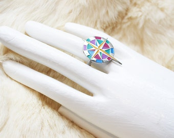 Silvertone Upcycled Compass Adjustable Statement Ring