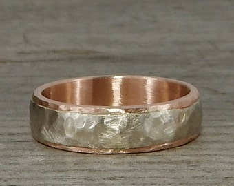 Recycled 14k White and Rose Gold Two-Tone Wedding Band, 6mm Wide, Hammered, Matte, Ethical/Eco-Friendly, Made to Order