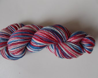 Red White and Blue Self Striping handpainted sock yarn 4 oz