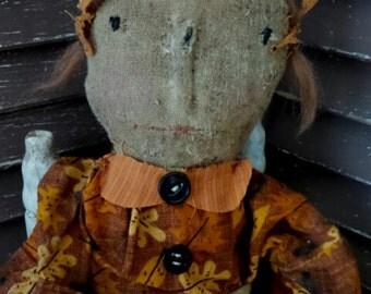 VERY Primitive, Autumn, Fall, Raggedy Ann, Antique, Vintage, Hafair, TeamHaHa, Orange, Leaves, Cloth, Old Rag Doll by Mustard Seed Originals