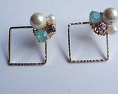 Swarovski cotton pearl bijou earrings
