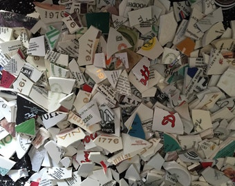 Mosaic Tiles Broken Plate Tesserae Words Numbers Letters Back Stamps Maker Mark Pieces Halves 200
