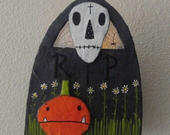 halloween...wall sconce...r.i.p..gravestone