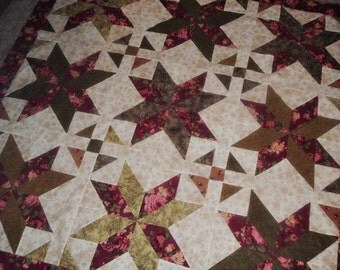 Quilt Top to Finish Burgundy and Green Floral Big Star 59 x 59 inches