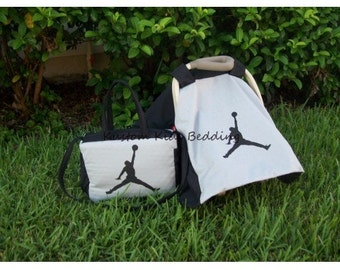 New Grey/Black MICHAEL JORDAN JUMPMAN Diaper Bag & Car Seat Tent Canopy Cover