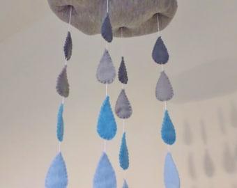 Rain cloud mobile - Nursery mobile, gender neutral, blue and grey mobile