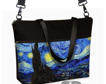 17 inch Laptop Bag avail w/ long cross body strap / Van Gogh Starry Night Laptop Tote Bag / Women's Briefcase / Zipper, Blue, Yellow  MTO