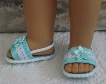 """Sandals for 18"""" dolls and 13-14"""" dolls and 14.5"""" dolls (You Choose Size) Seafoam Green Shoes With Fabric and Lace Accents"""