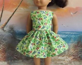 American Girl Doll Dress Handmade Summer Berries on a Green Background Strapless NEW