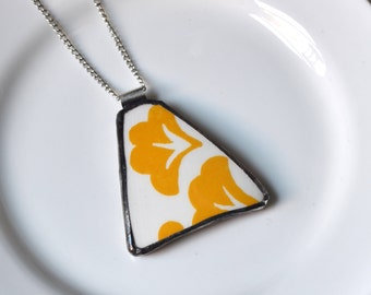 Broken China Jewelry Pendant - Yellow and White Pioneer Woman