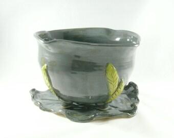 Fruit Bowl, Prep Bowl Handmade Ceramic Kitchen Colander Green Berry bowl on Leaf Strainer - Sieve - Pottery Fruit Bowl  Kitchen Serving