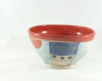 Handmade Ceramic soup bowl, pottery cereal bowl, ice cream dish, key bowl kitchen serving bowl, salad bowl,  Tree and owl design 433