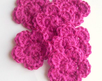 Crochet Flower Appliques, Raspberry Crochet Flower, Crochet Flower Embellishment, Set of 6, Crochet Flower Motif