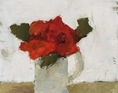 art original acrylic painting on fine art paper, flower painting red floral, red roses, red and green, red and white