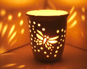 Ceramic Luminary/Candle Holder,Wheel Thrown, Hand Carved Butterfly