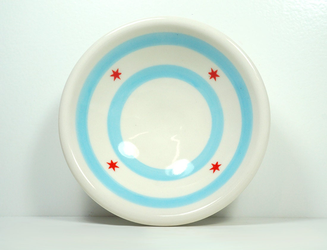 small dish chicago flag. Made to Order.
