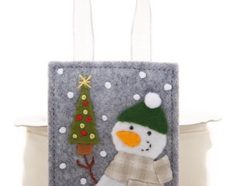 Felt Christmas Tree, Handmade Snowman Ornament, Christmas Hand Embroidery, One Of A Kind Gift, Heirloom Ornament, Childs Advent Calendar