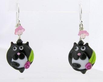 Black White Cat lampwork sterling silver earrings - tuxedo pink flower fat cat