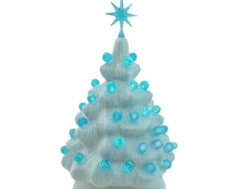 small light blue ceramic christmas tree with aqua color lights and star 6 inch miniature tabletop - Small White Christmas Trees