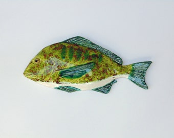 Porgy cermic fish art decorative wal hanging