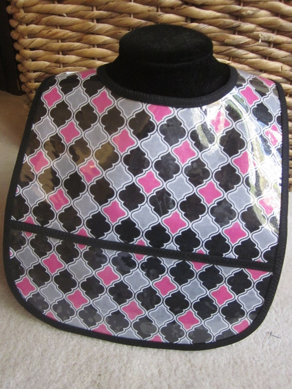WATERPROOF WIPEABLE Baby to Toddler Wipeable Plastic Coated Bib Pink, Gray and Black Geometric