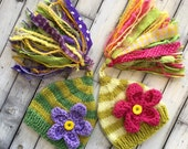 TWiN Newborn Girl FLoWeR Hats Knit BaBY PHoTO PRoP Big Tassel Stripe Stocking Cap RTS Green Yellow Mauve Pink CoMiNG HoME Pixie Beanies GiFT