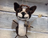 Philippa  the Needle Felted Boston Terrier Angel Dangling Doll Sculpture