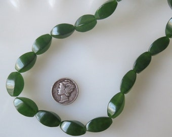 Green Jade Twist Beads 8x16mm, Half Strand