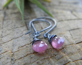 adorable pink sapphire earrings - petite - oxidized sterling silver